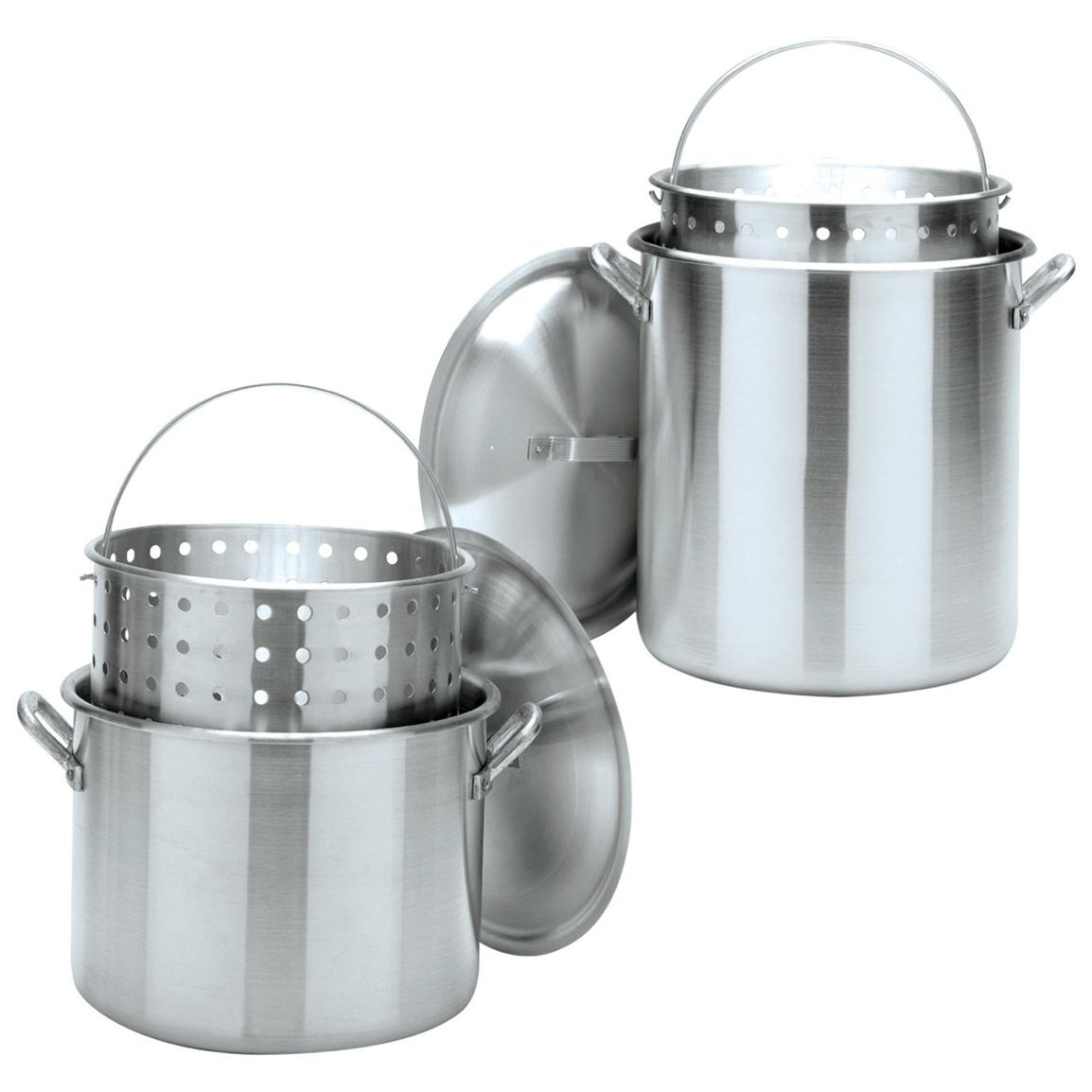 Bayou Classic Aluminum Stockpots with Boil Baskets