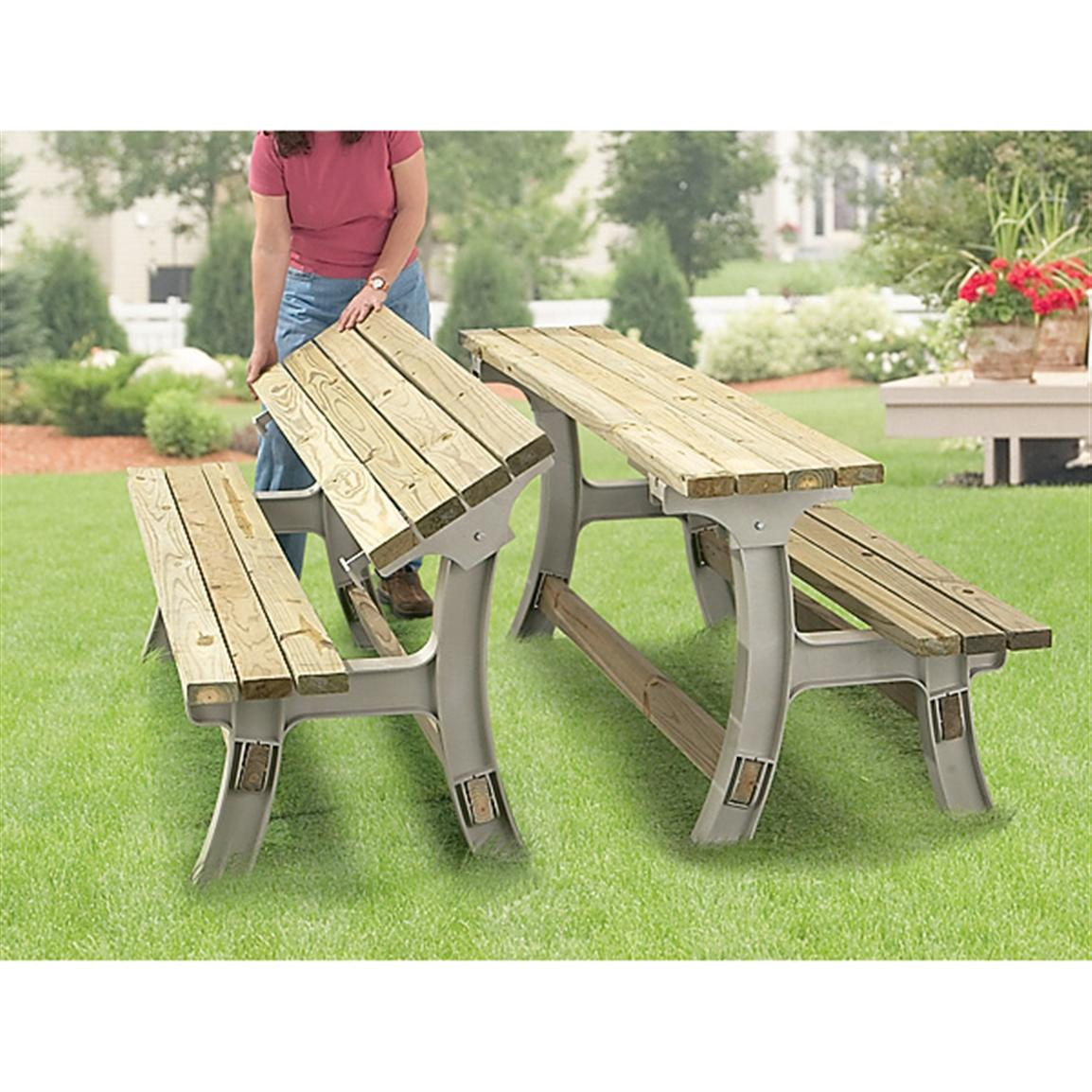 Flip Top Bench Table Frame Set Sand 93942 Patio Furniture At Sportsman 39 S Guide