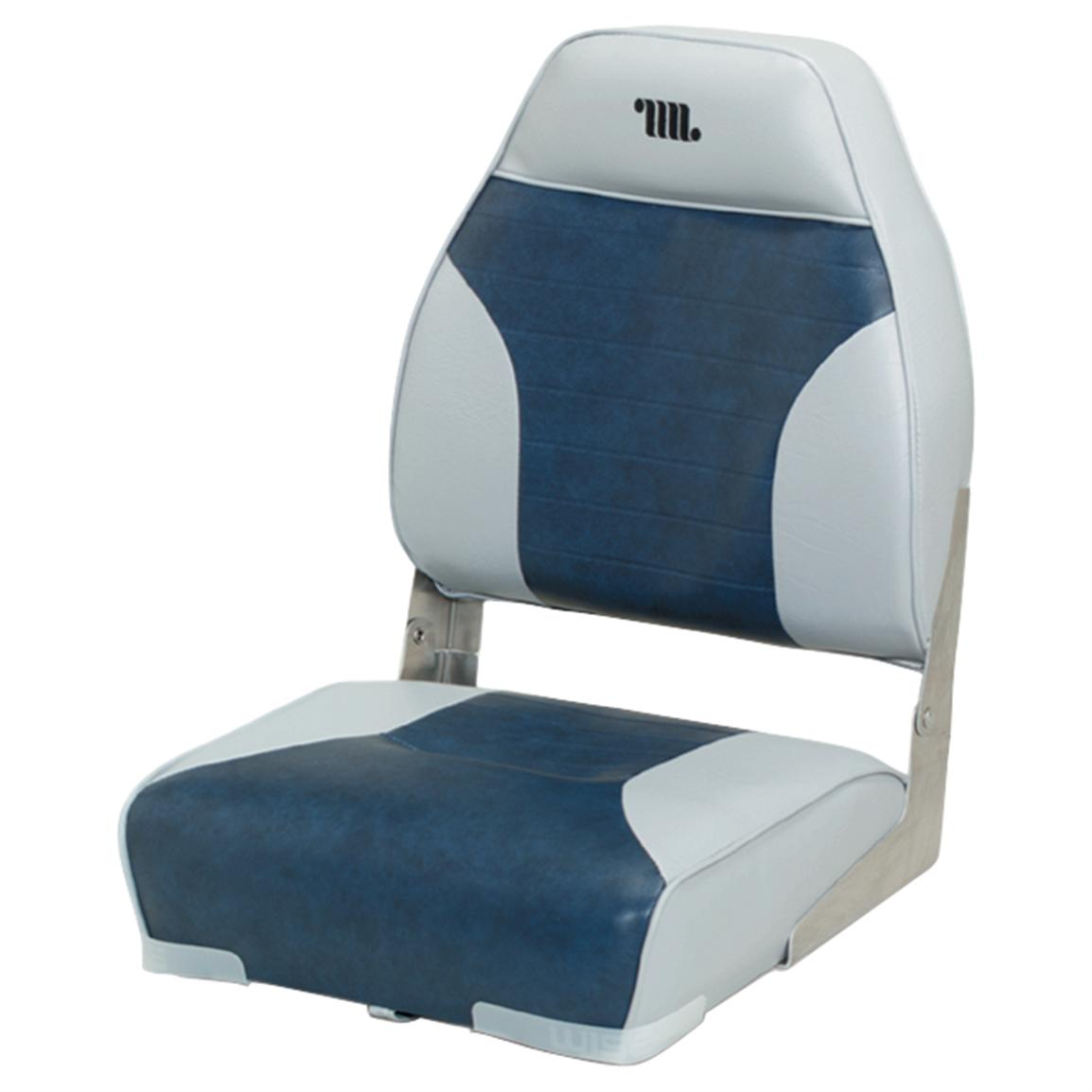 Wise Premium Folding Fishing Boat Seat, Grey / Navy