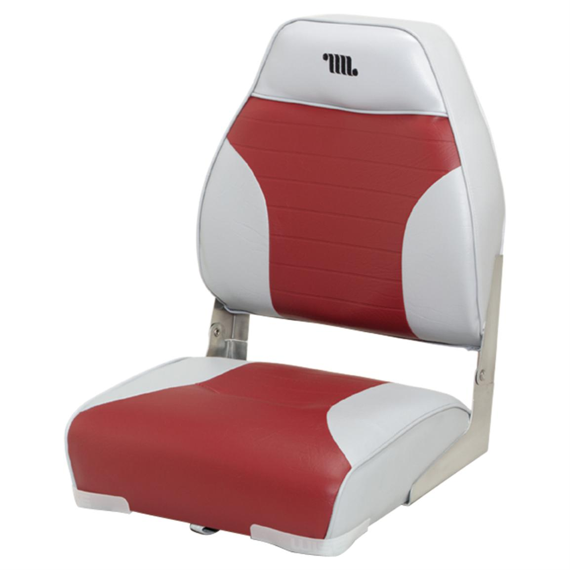 Wise Premium Folding Fishing Boat Seat, Grey / Red