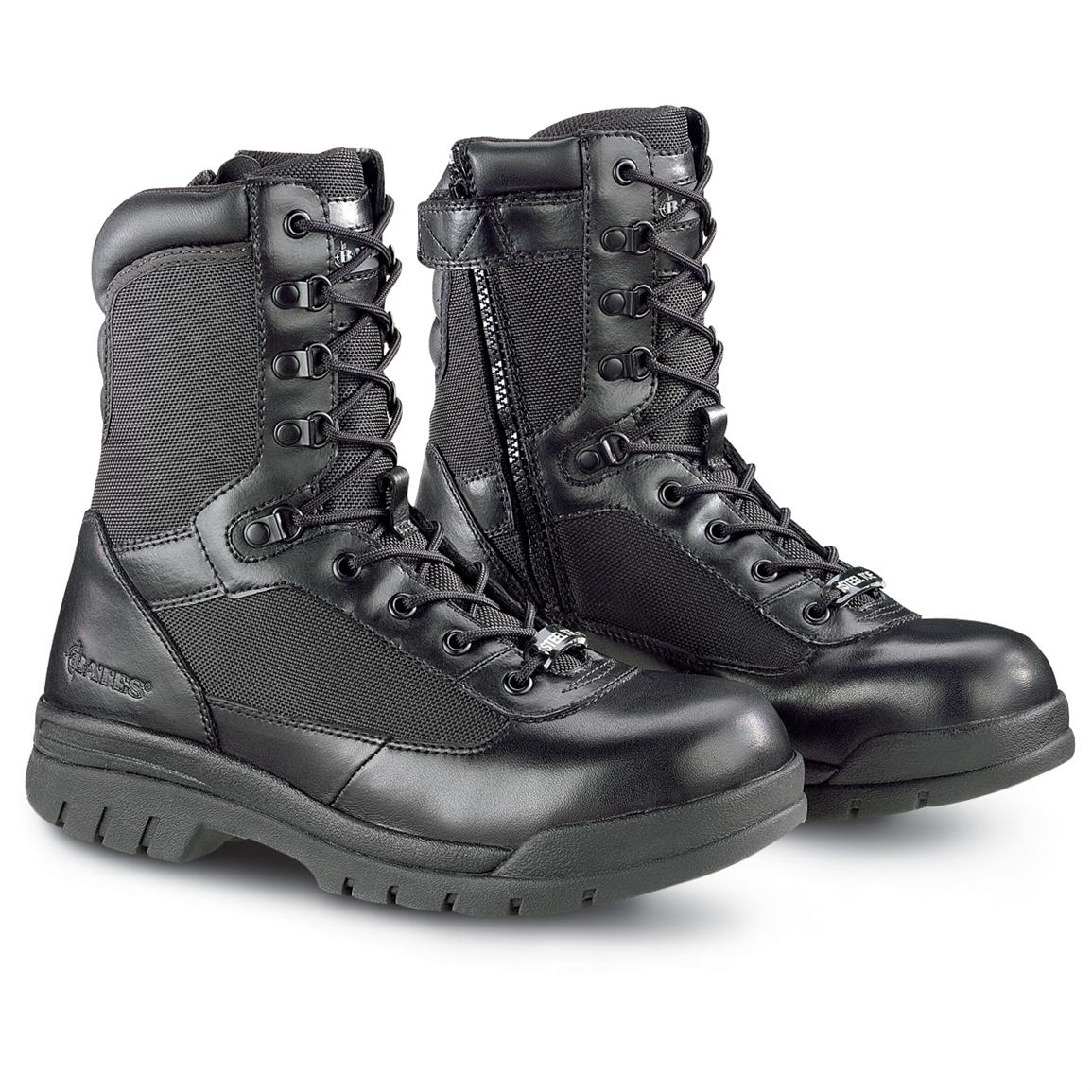 "Men's Bates Enforcer 8"" Side-Zip Steel Toe Combat Boots, Black"