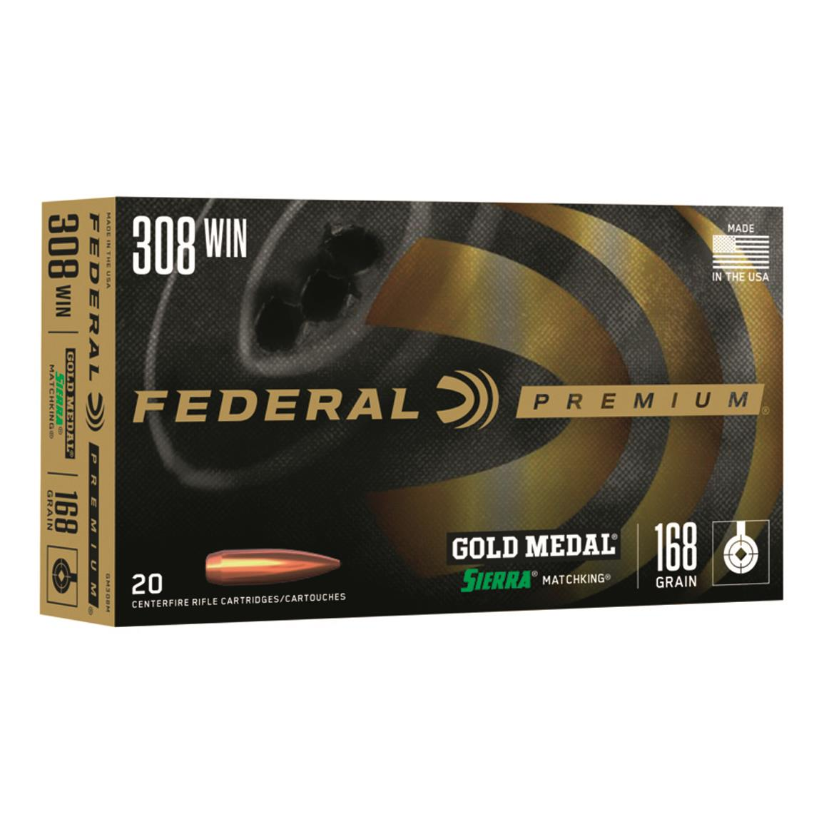 Federal Premium Gold Medal, .308 Win., Sierra Match King BTHP, 168 Grain, 20 Rounds