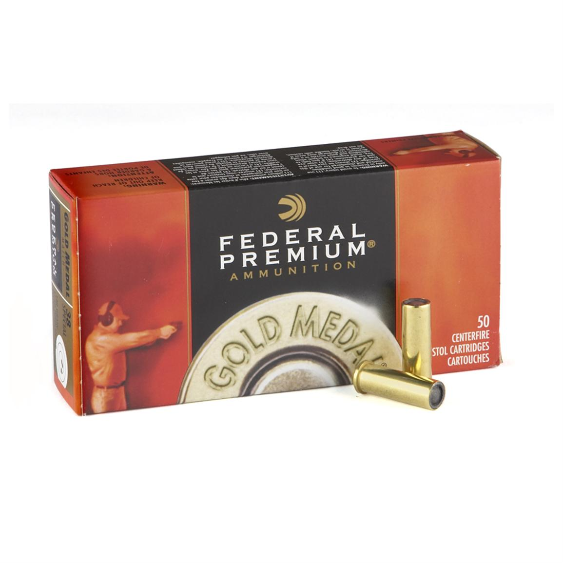 Federal Premium Gold Medal .38 Special 148 Grain Lead Wadcutter Match, 50 rounds