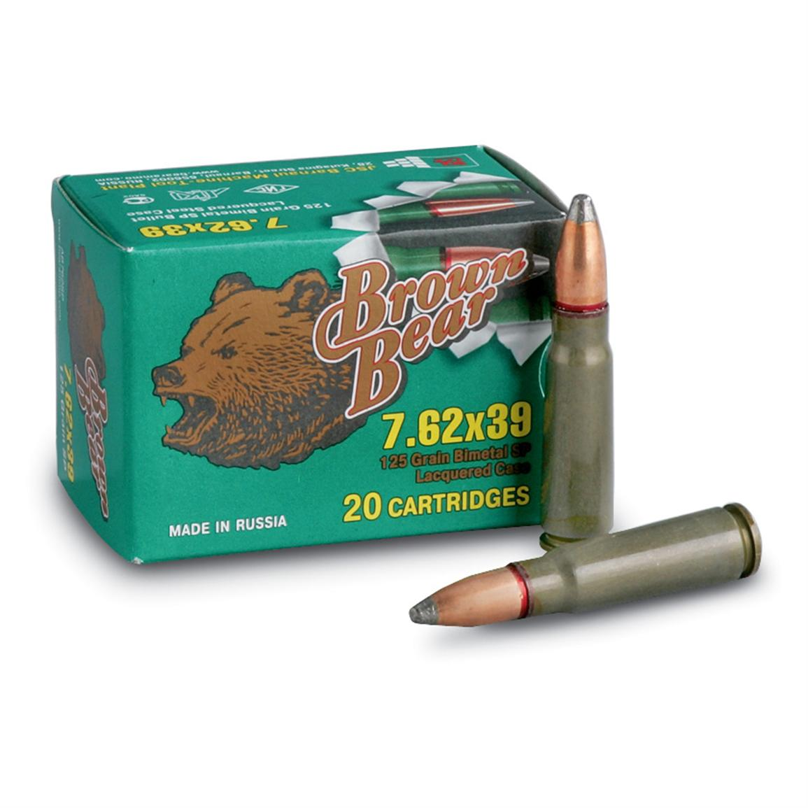 Brown Bear, 7.62x39mm, SP, 125 Grain, 260 Rounds