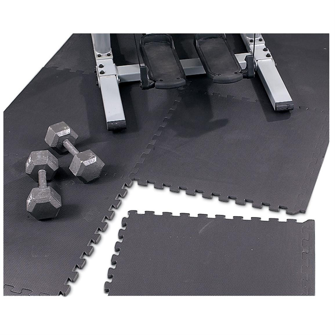 Home Exercise Equipment Crossword Clue: Puzzle Mat Floor Protector, Black