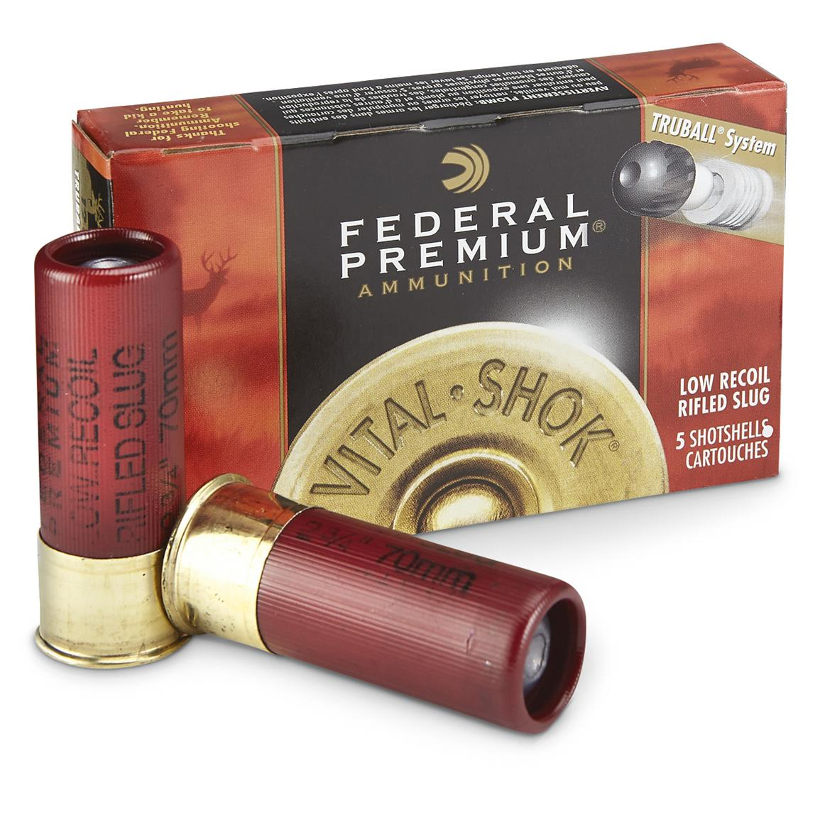 "Federal Truball, 12 Gauge, 2 3/4"", 1 oz. Slugs, 5 Rounds"