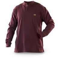 Men's Wrangler® Long Sleeve Henley Work Shirt, Burgundy
