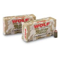 Wolf, 9x18mm Makarov, FMJ, 94 Grain, 250 Rounds