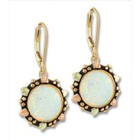 Landstrom's® 10K Yellow Gold, 14K Gold Leverback Earrings with Opal