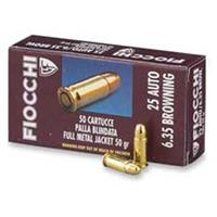 Fiocchi® Shooting Dynamics .25 Auto (6.35mm) 50 Grain FMJ 50 rounds