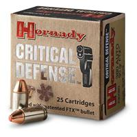 Hornady Critical Defense, .380 Auto, 90 Grain, FTX, 25 Rounds