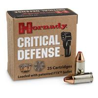 Hornady Critical Defense, 9mm Luger, 115 Grain, FTX , 25 Rounds