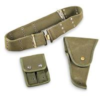 Used Belgian 3-Pc. Military Holster Set, Olive Drab
