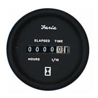Faria® Euro Series Black Hourmeter Gauge