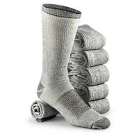 6-Prs. of Merino Wool-blend Socks, Black / Gray