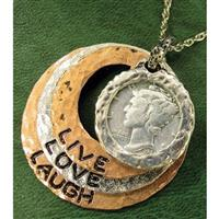 American Coin Treasures® Silver Mercury Dime Tricolor Circle Live-Love-Laugh Pendant