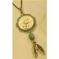 American Coin Treasures® Sacagawea Brass and Turquoise Pendant