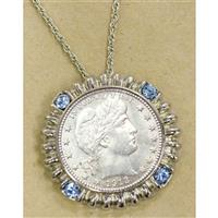 American Coin Treasures® Barber Quarter Silvertone Blue Crystal Pendant