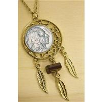American Coin Treasures® Buffalo Nickel Gold Tone Dream Catcher Pendant with Tiger Eye Stone with 24 inch Chain