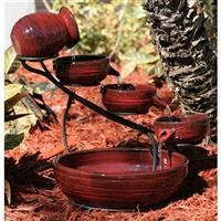 Smart Solar™ Cascade Solar Fountain, Glazed Red Lava