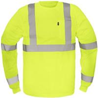 Men's Key® High-Visibility Class 3 Long Sleeve Waffle Knit T-shirt, High-Vis Yellow