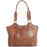 American West® Over the Rainbow Collection Hand-tooled Leather Tote, Caramel