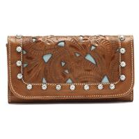 American West® Everyday Cowgirl Totes Collection Hand-Tooled Women's Trifold Leather Wallet