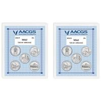 Uncirculated 2010P and 2010D United States National Parks and Sites Quarters Graded MS63