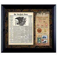 New York Times Civil War Coin and Stamp Collection, 6 coins, 3 stamps