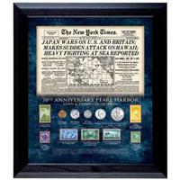 New York Times Pearl Harbor 70th Anniversary Framed Coin and Stamp Collection