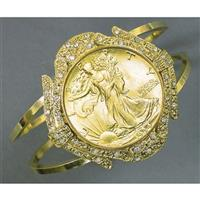 Gold-layered Walking Liberty Half Dollar Coin Cuff Bracelet, from American Coin Treasures