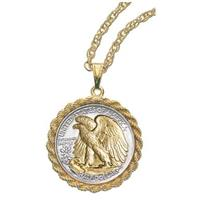 Gold-layered Walking Liberty Half Dollar Coin Pendant from American Coin Treasures