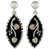 Black Hills Gold by Coleman® Sterling Silver Antiqued Marquise Earrings