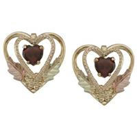 Black Hills Gold by Coleman® 10K Gold Garnet Heart Earrings