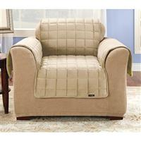 Deluxe Quilted Velvet Furniture Cover, Cream, Chair Cover