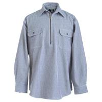 Men's Berne® Zip Front Long-sleeve Logger Shirt, Hickory Stripe