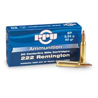 PPU .222 Rem. 50 Grain SP 20 rounds