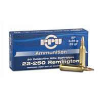 PPU .22-250 Rem. 55 Grain SP 20 rounds