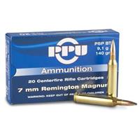 PPU, 7mm Remington, PSPBT, 140 Grain, 20 Rounds