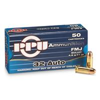 PPU, .32 Auto, FMJ, 71 Grain, 50 Rounds
