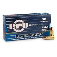 50 rounds PPU 9mm Luger 124 Grain FMJ