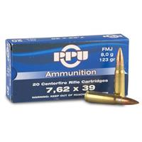 PPU, 7.62x39mm, FMJ, 123 Grain, 20 Rounds