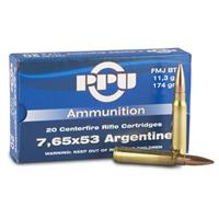 PPU 7.65x53 174 Grain FMJ-BT 20 rounds