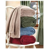 CASTLECREEK Cozy Plush Fleece Blanket, Tan / Fern / Blue / Burgundy (from top to bottom)