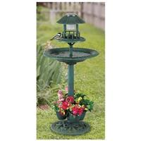 CASTLECREEK 4-in-1 Bird Bath with Feeder, Planter & Solar LED Light