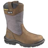 Men's CAT® 11 inch Grist Waterproof Steel Toe Wellington Work Boots, Dark Brown