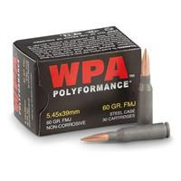 180 rounds WPA Polyformance 5.45x39mm 60 Grain FMJ Ammo