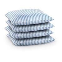 4 New Swedish Military Bed Pillows, Blue Stripe / White