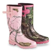 Realtree Girl Women's Ms. JoJo Rain Boots • Hot Pink / Realtree Xtra Green (Right), Realtree MAX-1 Pink (Left)