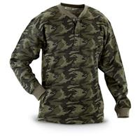 2 Camo Long-sleeved Thermal Henley Shirts, Green